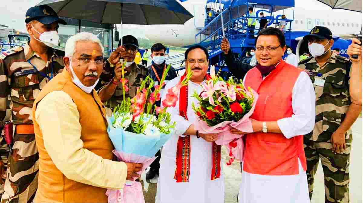 Jp nadda with pushkar dhami